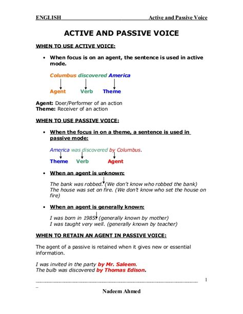active and passive voice with exle
