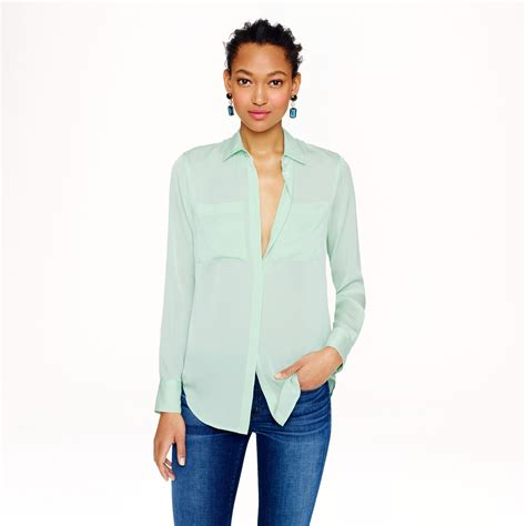jcrew blouses j crew silk pocket blouse in green lyst