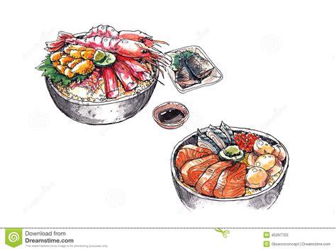 illustration cuisine hokkaido seafood japanese food watercolor illustration stock illustration image 45267703