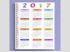 Calendar 2017 templates note book Free vector in Adobe