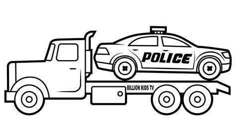 Drawing Police Car Carrier Truck Coloring For Kids