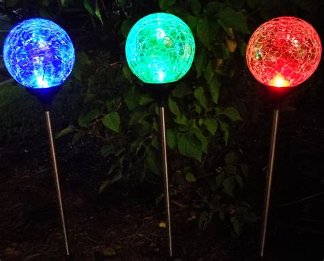solar globe lights outdoor sogrand 3pcs pack 3color solar lights outdoor crackle