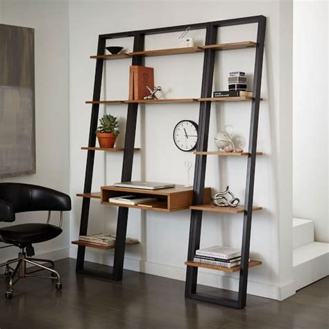 narrow computer desk with shelves ladder shelf desk narrow bookshelf set ladder shelf