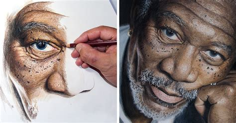 hour high detail drawing  morgan freeman  color