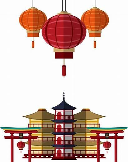 Japanese Clipart Japan Architecture Transparent Lanterns Drawing