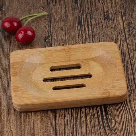 natural wooden bamboo soap dish wooden soap tray holder storage soap rack plate box container