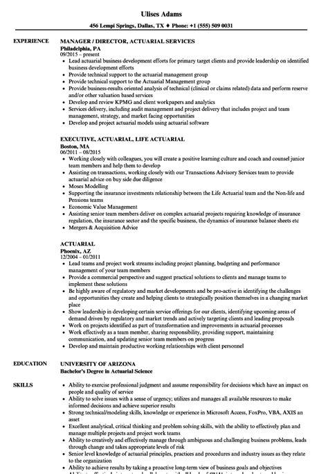 actuarial resume sles velvet jobs