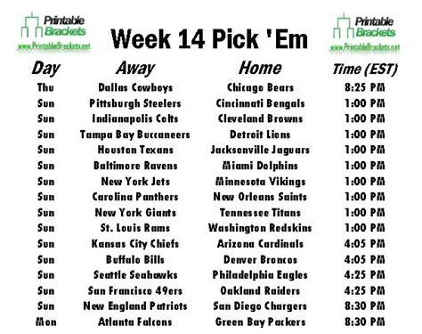 nfl pick em week  pro football pick em week