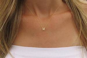 Goldfilled initial necklace gold letter necklace tiny for Tiny letter necklace