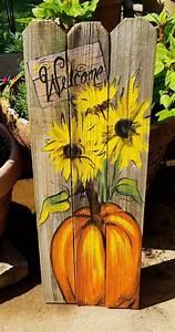 Pumpkin, Sunflowers, Welcome, Wooden, Fall, Art, On, Reclaimed, Wood, Fence, Rustic, Artist, Bill, Miller