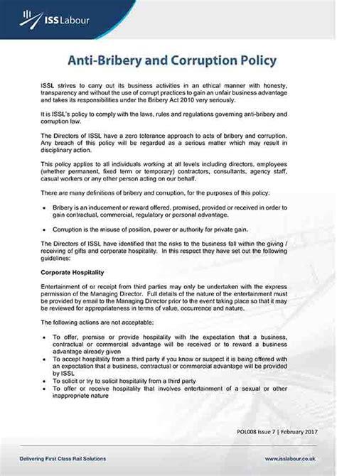 anti corruption and bribery policy template anti bribery and corruption policy template canada templates resume exles blydojmadj