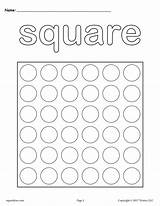 Square Shapes Dot Printable Coloring Printables Pages Worksheets Preschool Shape Triangle Worksheet Toddlers Preschoolers Marker Cutting Dauber Painting Practice Tracing sketch template