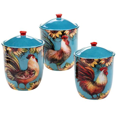 Sunflower Canister Sets Kitchen by Certified International Sunflower Rooster 3 Kitchen