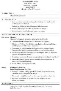 master resume exles resume sle master cake decorator