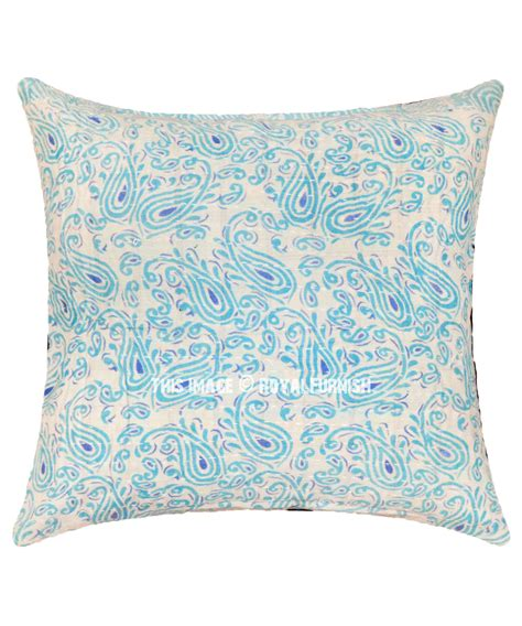 Handmade Pillows by Turquoise Paisley Printed Handmade Kantha Square Pillow