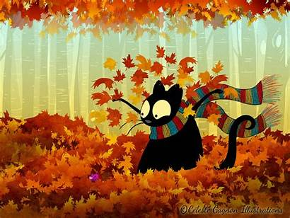 Fall Echo Wallpapers Cat Desktop Illustrations Background