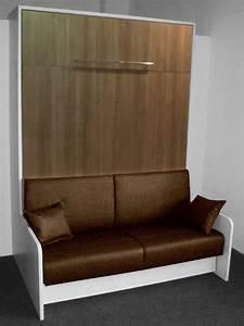Lit Armoire Canapé : armoire lit space sofa blanche facade chene de fil canape marron couchage 140 20 200 cm ~ Teatrodelosmanantiales.com Idées de Décoration