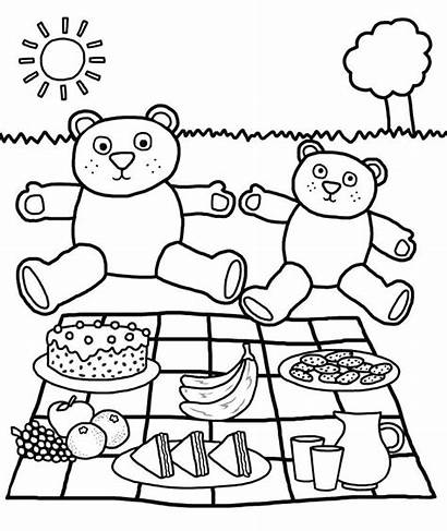 Picnic Blanket Drawing Coloring Basket Pages Getdrawings