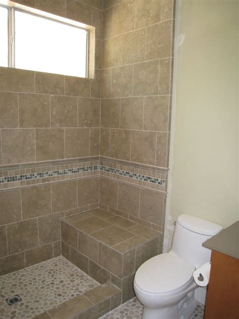 bathroom shower door ideas shower stall without door with border tile and chair for