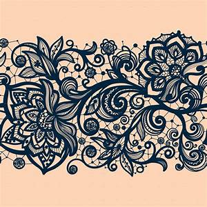 Seamless Lace Pattern with Decorative Flowers by Vikpit