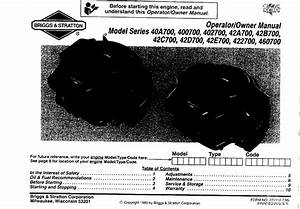 Briggs And Stratton 400700 Users Manual
