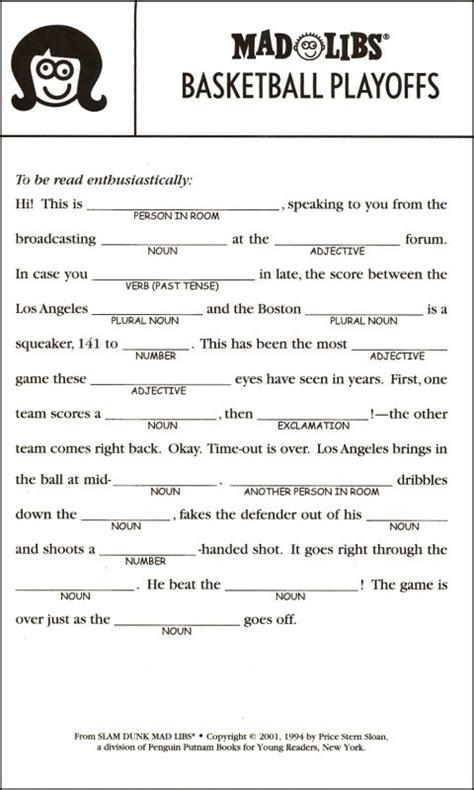 Mad Libs Printable  Printable Pages