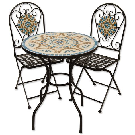 blue outdoor table and chairs mosaic outdoor garden table and folding chair set blue ebay