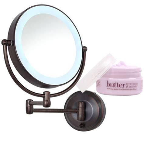 zadro rubbed bronze led lighted wall mount mirror and