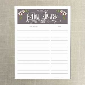 instant download bridal shower gift list gifts received With wedding shower gift list template