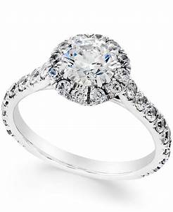 macy39s certified diamond halo engagement ring 2 1 3 ct t With macy s jewelry wedding rings