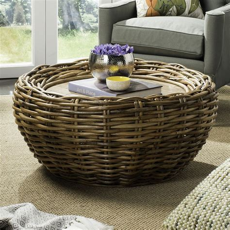 See the detailed pics here. Safavieh Round Wicker Coffee Table, Grey Other | Wicker coffee table, Coffee table, Wicker