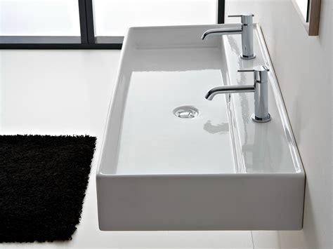 lavabo double suspendu en ceramique teorema