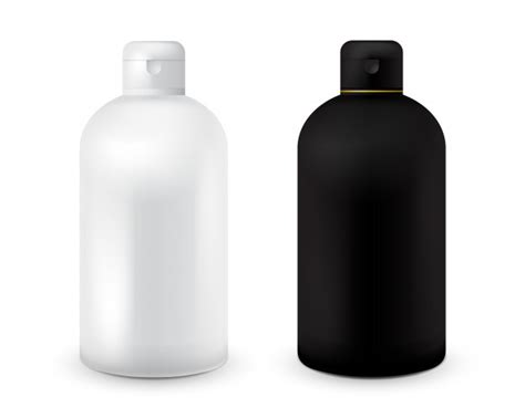 Set Of Black And White Plastic Bottle Template For Shampoo