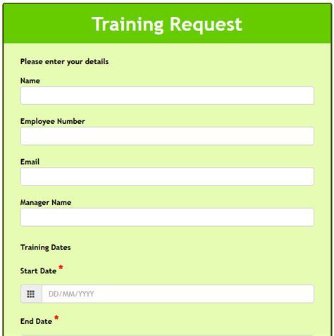 training course request form template formwize exles