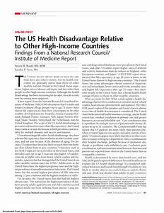 (PDF) The US Health Disadvantage Relative to Other High ...