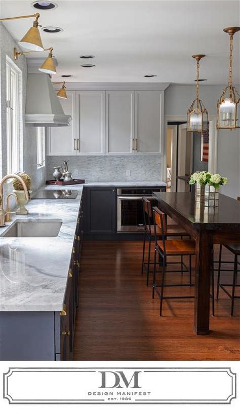 kitchen  light gray cabinets  dark gray cabinets