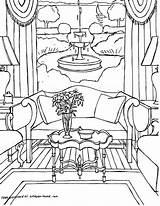Coloring Pages Interior Adults Point Adult Sheets Perspective Colouring Printable Living Rooms Interiors Gonsowski Fred Books Drawing Drawings Getcolorings Cool sketch template
