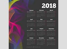 Dark 2018 calendar with colored wavy forms Vector Free