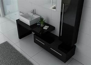 Meuble Simple Vasque : ensemble de meuble de salle de bain 1 vasque dis9250 ensemble de salle de bain noir distribain ~ Teatrodelosmanantiales.com Idées de Décoration