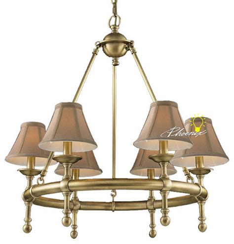harbor house copper and 6 fabric shades chandelier
