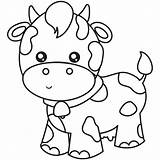 Cow Coloring Outlines Scenes sketch template