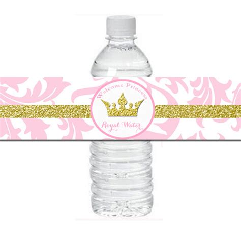 printable water bottle labels for baby shower pink princess baby shower water bottle labels printable pink