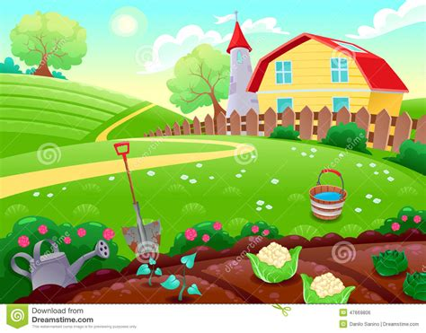 Funny Countryside Scenery With Vegetable Garden Stock