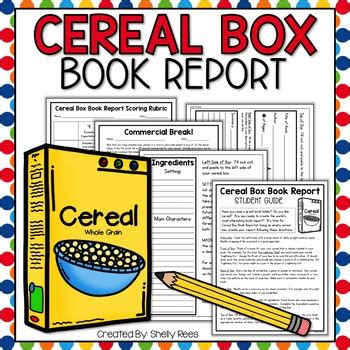 cereal box book report kit templates guide