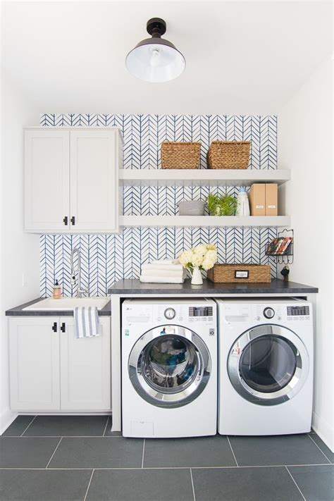 wallpapered laundry room  lily pad cottage laundry