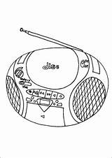Radio Cd Player Coloring Pages Technology Office Printable sketch template