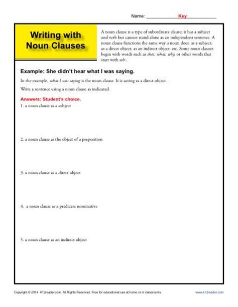 writing with noun clauses noun clause worksheets