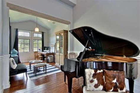 french country great room  grand piano hgtv
