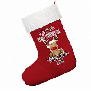 Personalised, Baby, First, Christmas, Rudolph, Red, Christmas, Stocking, With, White, Trim
