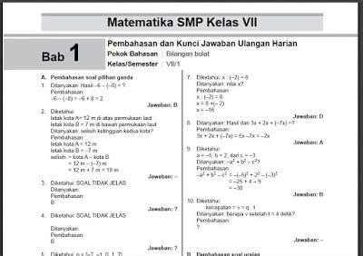 Seperti diketahui, matematika merupakan ilmu pasti yang bisa diasah dengan banyak berlatih. Kunci Jawaban Matematika Kelas 7 Buku Paket